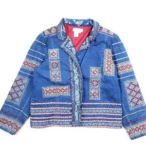 VTG 90's 00's Denim Jeans Native Aztek Jacket